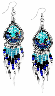 Stainless Steel Peruvian Turquoise & Blue Silk Thread Beaded Dangle Earrings