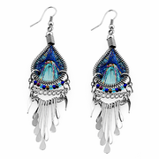 Stainless Steel Peruvian Turquoise & Blue Silk Thread Dangle Earrings