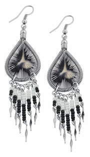 Stainless Steel Peruvian White & Black Silk Thread Beaded Dangle Earrings