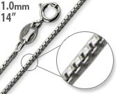 "Rhodium Sterling Silver 14"" Box Chain 1MM"