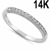 Solid 14K White Gold Classic Clear Round CZ Ring