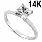 Solid 14K White Gold Clear Princess Cut Solitaire Engagement CZ Ring