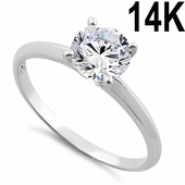 Solid 14K White Gold Clear Round Cut Solitaire Engagement CZ Ring