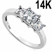Solid 14K White Gold Clear Triple Princess Cut CZ Ring