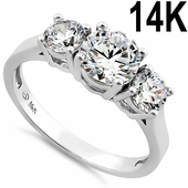 Solid 14K White Gold Clear Triple Round Cut Engagement CZ Ring