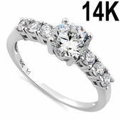Solid 14K White Gold Eloquent Clear Round Cut Engagement CZ Ring