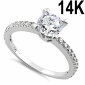 Solid 14K White Gold Majestic Clear Round Cut Engagement CZ Ring