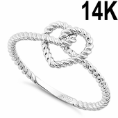 Solid 14K White Gold Rope Heart Knot Ring