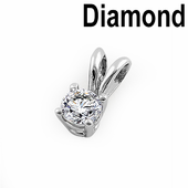 Solid 14K White Gold Round .25 ct. Diamond Pendant