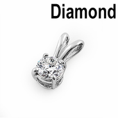 Solid 14K White Gold Round .31 ct. Diamond Pendant