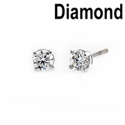 Solid 14K White Gold Round .40 ct. Diamond Earrrings