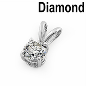 Solid 14K White Gold Round .40 ct. Diamond Pendant
