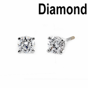 Solid 14K White Gold Round .62 ct. Diamond Earrrings