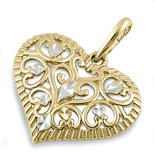 Solid 14k yellow and white gold filigree heart pendant aloadofball Gallery