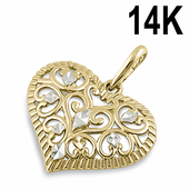 Solid 14K Yellow and White Gold  Filigree Heart Pendant