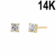 .2 ct Solid 14K Yellow Gold 2.5mm Princess Cut Clear CZ Earrings