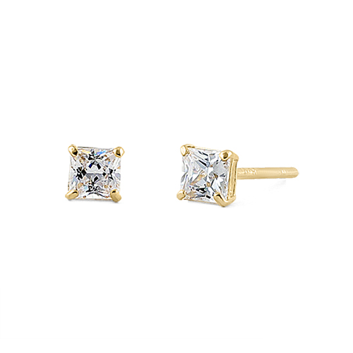 2 Ct Solid 14k Yellow Gold 5mm Princess Cut Clear Cz Earrings