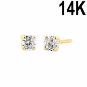 .12 ct Solid 14K Yellow Gold 2.5mm Round Cut Clear CZ Earrings