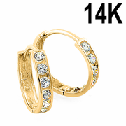 Solid 14K Yellow Gold 2 x 12mm Round CZ Hoop Earrings