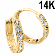 Solid 14K Yellow Gold 2 x 13mm Round CZ Hoop Earrings