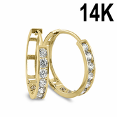 Solid 14K Yellow Gold 3 x 15mm Round CZ Hoop Earrings