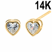 Solid 14K Yellow Gold 3MM Heart Cut Clear CZ Earrings