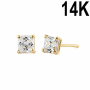 .36 ct Solid 14K Yellow Gold 3mm Princess Cut Clear CZ Earrings