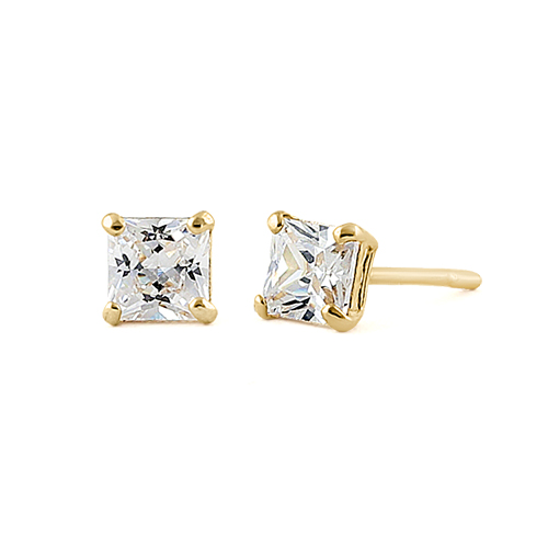 36 Ct Solid 14k Yellow Gold 3mm Princess Cut Clear Cz Earrings