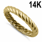Solid 14K Yellow Gold 3mm Rope Band