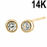 Solid 14K Yellow Gold 3mm Round Cut Clear CZ Earrings