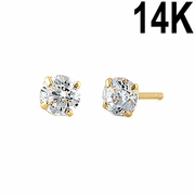 .22 ct Solid 14K Yellow Gold 3mm Round Cut Clear CZ Earrings