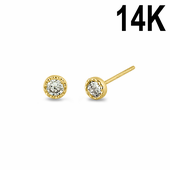 Solid 14K Yellow Gold 3mm Round CZ Beaded Stud Earrings