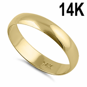 Solid 14K Yellow Gold 4mm Dome Wedding Band