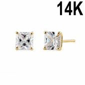 .78 ct Solid 14K Yellow Gold 4mm Princess Cut Clear CZ Earrings