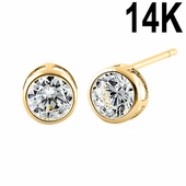 Solid 14K Yellow Gold 4mm Round Cut Clear CZ Earrings