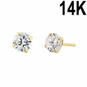 .5 ct Solid 14K Yellow Gold 4mm Round Cut Clear CZ Earrings