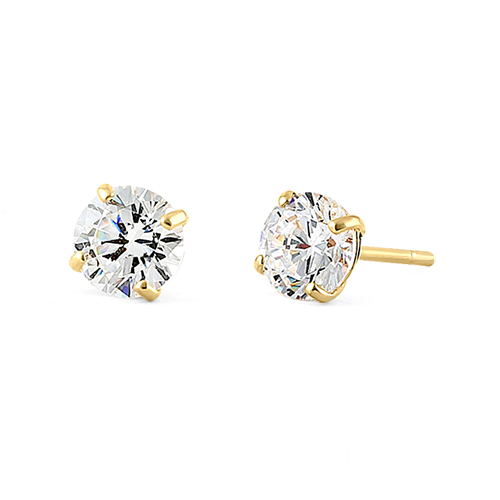 5 Ct Solid 14k Yellow Gold 4mm Round Cut Clear Cz Earrings
