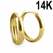 Solid 14K Yellow Gold 4mm x 16mm Plain Hoop Earrings