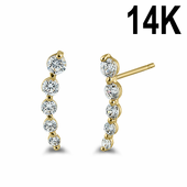 Solid 14K Yellow Gold 5 Clear Round CZ Stud Earrings