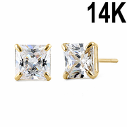 1.42 ct Solid 14K Yellow Gold 5mm Princess Cut Clear CZ Earrings