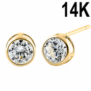 Solid 14K Yellow Gold 5mm Round Cut Clear CZ Earrings
