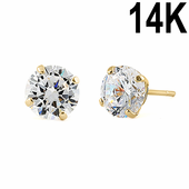 .92 ct Solid 14K Yellow Gold 5mm Round Cut Clear CZ Earrings