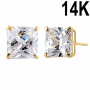 2.48 ct Solid 14K Yellow Gold 6mm Princess Cut Clear CZ Earrings