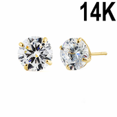 1.68 ct Solid 14K Yellow Gold 6mm Round Cut Clear CZ Earrings