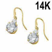 Solid 14K Yellow Gold 6mm Round CZ Hook Earrings