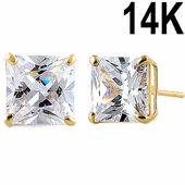 3.92 ct Solid 14K Yellow Gold 7mm Princess Cut Clear CZ Earrings