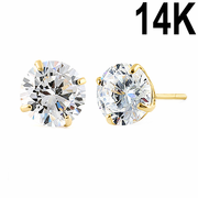 2.56 ct Solid 14K Yellow Gold 7mm Round Cut Clear CZ Earrings