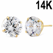 4.08 ct Solid 14K Yellow Gold 8mm Round Cut Clear CZ Earrings