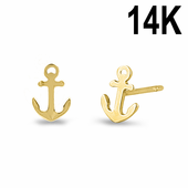 Solid 14K Yellow Gold Anchor Stud Earrings