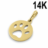 Solid 14K Yellow Gold Bear Paw Pendant